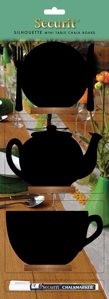Набор меловых досок для сообщений Securit Тарелка,чайник,кружка + маркер в комплектеFBT-MIX-3Голландская компания Securit по праву считается пионером в изобретении маркера на основе жидкого мела. Компания поставляет свои меловые доски не только для счастливых домашних хозяйств по всему миру, но и является глобальным поставщиком фирмы STARBUCKS. При помощи меловых дощечек различной формы, вы можете оставить свои сообщения и пожелания второй половине, такое, как : «Хочу борща !» или «Давай устроим романтический ужин !», нарисовать смешной смайлик или сердечко. Также подойдет для супругов, которые некоторое время не разговаривают между собой. При помощи сообщений можно перевести ситуацию в шутливую форму. Любите, прощайте и заботьтесь друг о друге! В зависимости от формы меловые доски Securit оснащены разными видами крепления :крючками для крепления, липкими лентами которые позволяют прикреплять доски к разным типам поверхностей или деревянной подставкой. К каждой доске прилагается белый меловый маркер! Маркер удаляется влажной губкой с поверхности доски, а так же с других...