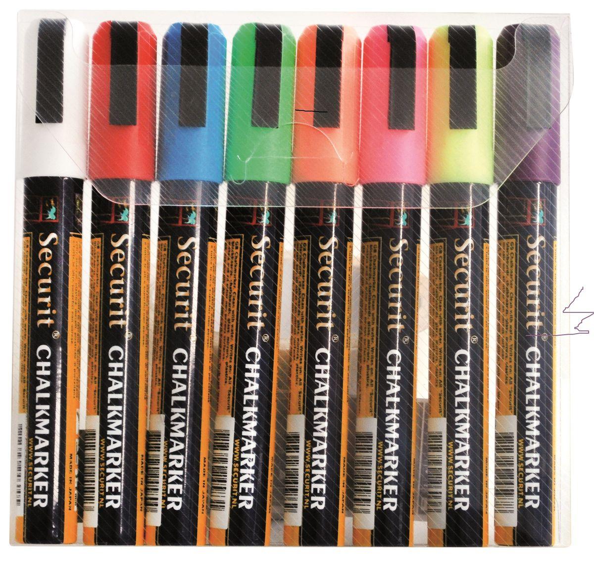 Маркеры для сообщений Securit 8 шт SMA510-V8-ETSMA510-V8-ETНабор из 8 меловых маркеров. Меловые маркеры позволяют наносить стираемые надписи на любые поверхности - стекло, пластик, дерево или специальные покрытия и доски. Толщина линии 5 мм. В комплекте маркеры зелёного, желтого, фиолетового, синего, розового, красного, белого и оранжевого цветов.