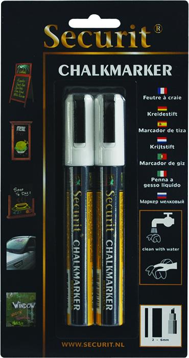 Маркеры для сообщений Securit 2 шт BL-SMA510-WTBL-SMA510-WTНабор из 2 меловых маркеров белого цвета. Меловые маркеры позволяют наносить стираемые надписи на любые поверхности - стекло, пластик, дерево или специальные покрытия и доски. Толщина линии 5 мм.