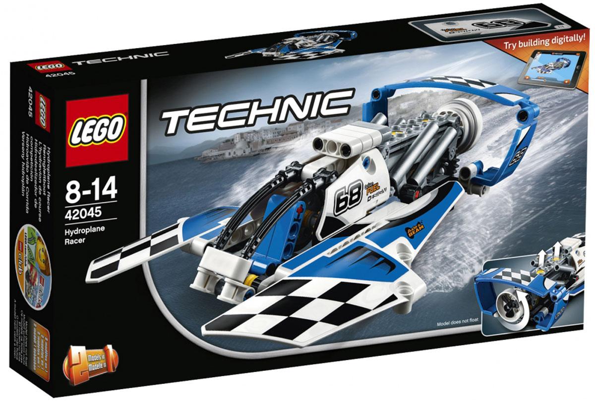 LEGO Technic Конструктор Гоночный гидроплан 4204542045Бейте рекорды скорости на воде вместе с этой удивительной, аэродинамической моделью 2 в 1, которая отличается огромными поплавками, большой кабиной и раскрашена в синий и белый цвета со спортивными черно-белыми гоночными наклейками-шашечками. Выводите свой мощный аппарат к линии старта и смотрите, как винт и поршни двигателя приходят в движение. Теперь готовьтесь к гонке! Когда будете готовы к новой задаче, соберите скоростной гоночный катер. Набор включает в себя 180 разноцветных пластиковых элементов. Конструктор - это один из самых увлекательных и веселых способов времяпрепровождения. Ребенок сможет часами играть с конструктором, придумывая различные ситуации и истории.