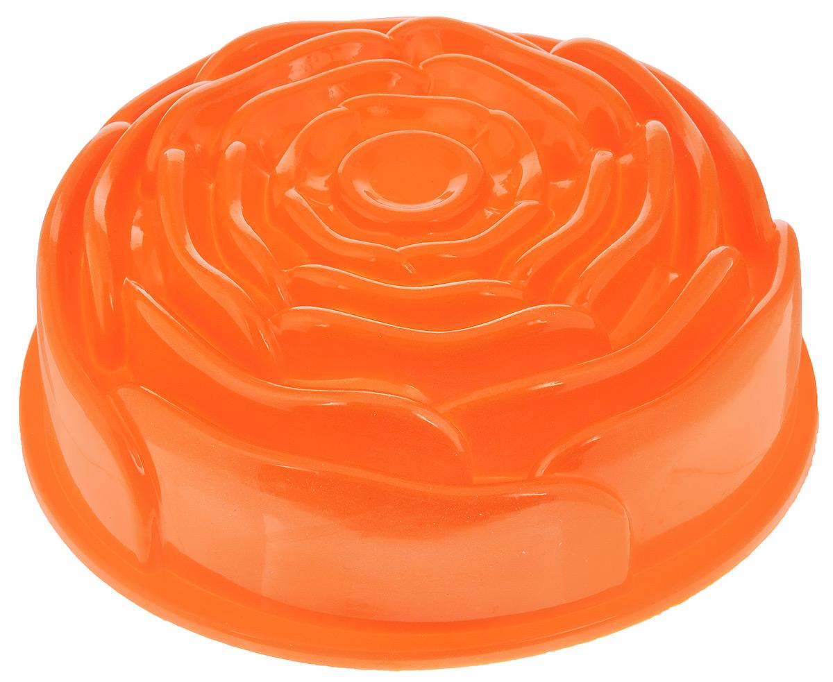 Форма для выпечки Mayer & Boch Роза, силиконовая, цвет: оранжевый, диаметр 23 см21976_оранжевыйФорма для выпечки Mayer & Boch Роза, изготовленная из высококачественного силикона, выполнена в виде бутона розочки. Стенки формы легко гнутся, что позволяет легко достать готовую выпечку и сохранить аккуратный внешний вид блюда. Силикон - материал, который выдерживает температуру от -40°С до +230°С. Изделия из силикона очень удобны в использовании: пища в них не пригорает и не прилипает к стенкам, форма легко моется. Приготовленное блюдо можно очень просто вытащить, просто перевернув форму, при этом внешний вид блюда не нарушится. Изделие обладает эластичными свойствами: складывается без изломов, восстанавливает свою первоначальную форму. Порадуйте своих родных и близких любимой выпечкой в необычном исполнении. Подходит для приготовления в микроволновой печи и духовом шкафу при нагревании до +230°С; для замораживания до -40°. Внутренний размер формы: 21 х 21 х 8,5 см.