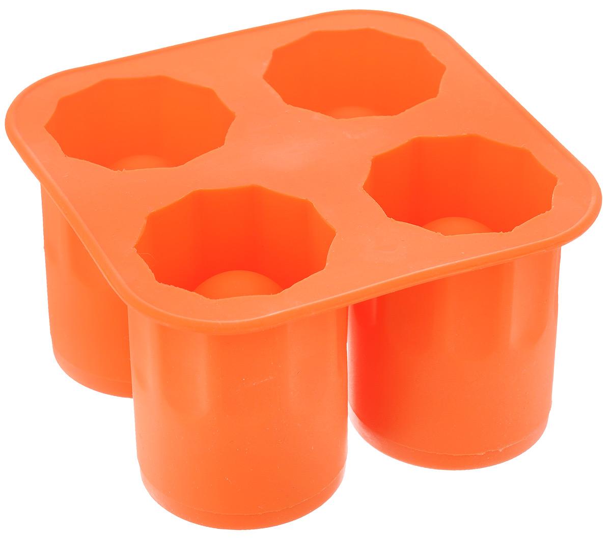 Форма для ледяных стопок Elan Gallery, 4 ячейки, цвет: оранжевый, 13 х 13 х 7 см590193Форма для ледяных стопок Elan Gallery изготовлена из высококачественного пищевого силикона, который выдерживает температуру от -40 до +240°С и не впитывает жир и запахи. Форма имеет 4 ячейки для приготовления стопок изо льда. Просто наполните форму водой или соком и поставьте в морозильную камеру до полного замерзания. Готовые изделия легко доставать, благодаря гибкости силикона. Стопки можно использовать для украшения, а если в них налить напиток, он моментально охладится. Ледяные стопки станут оригинальным украшением любого праздничного стола. Диаметр готовой стопки: 5 см. Высота готовой стопки: 7 см. Размер формы: 13 х 13 х 7 см.