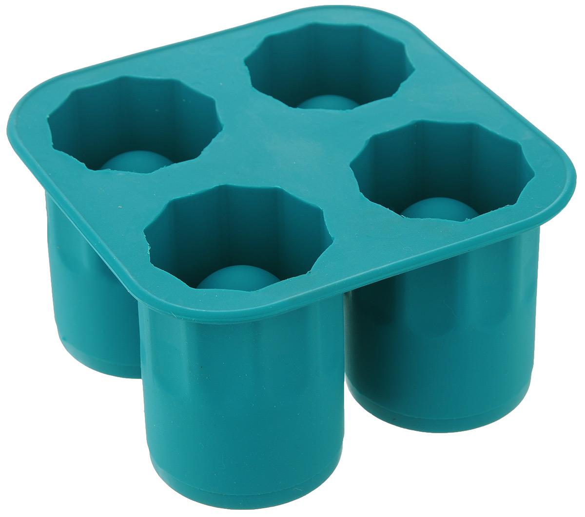 Форма для ледяных стопок Elan Gallery, 4 ячейки, цвет: бирюзовый, 13 х 13 х 7 см590189Форма для ледяных стопок Elan Gallery изготовлена из высококачественного пищевого силикона, который выдерживает температуру от -40 до +240°С и не впитывает жир и запахи. Форма имеет 4 ячейки для приготовления стопок изо льда. Просто наполните форму водой или соком и поставьте в морозильную камеру до полного замерзания. Готовые изделия легко доставать, благодаря гибкости силикона. Стопки можно использовать для украшения, а если в них налить напиток, он моментально охладится. Ледяные стопки станут оригинальным украшением любого праздничного стола. Диаметр готовой стопки: 5 см. Высота готовой стопки: 7 см. Размер формы: 13 х 13 х 7 см.