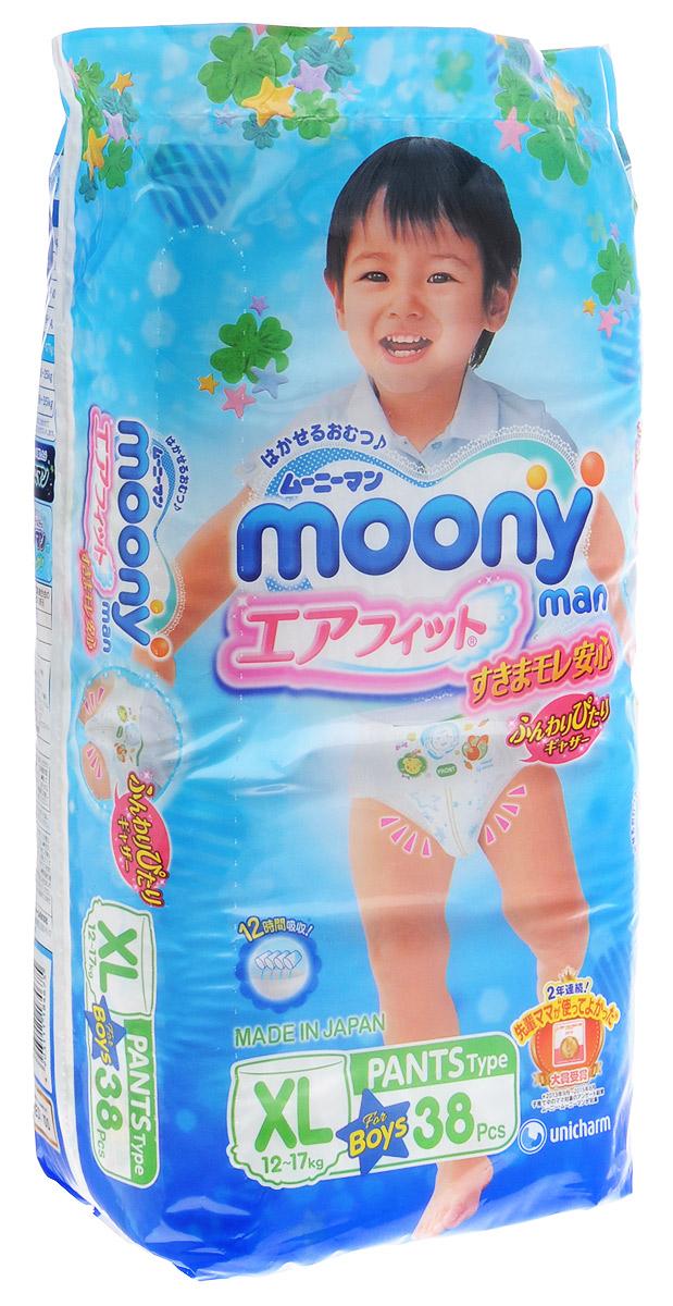 Moony Подгузники-трусики для мальчиков 12-17 кг размер XL 38 шт