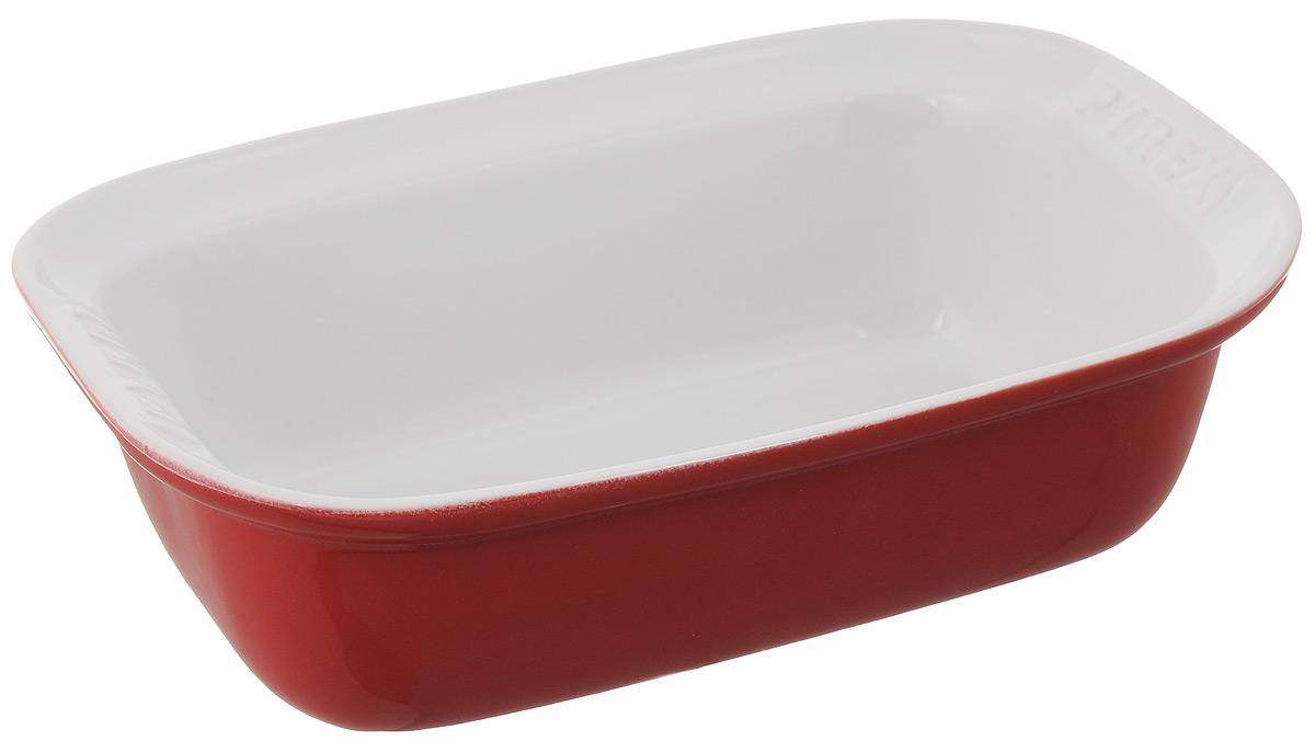 Форма для запекания Pyrex Impressions, прямоугольная, цвет: белый, красный, 26 х 17 смIC5RR26Форма для запекания Pyrex Impressions изготовлена из высококачественной жаропрочной керамики, покрытой глазурью. Изделие отлично распределяет и держит тепло, что обеспечивает равномерное приготовление. Пища в такой форме не пригорает и не прилипает к стенкам, форма легко чистится. Изделие идеально для подачи на стол. Такая форма станет полезным приобретением для вашей кухни и поможет в приготовлении ваших любимых блюд. Можно мыть в посудомоечной машине, использовать в духовке при температуре до 250°С и микроволновой печи, а также для заморозки до -20°С. Внутренний размер формы: 22 х 14 см. Размер формы (с учетом ручек): 26 х 17 см. Высота стенки: 7,5 см.