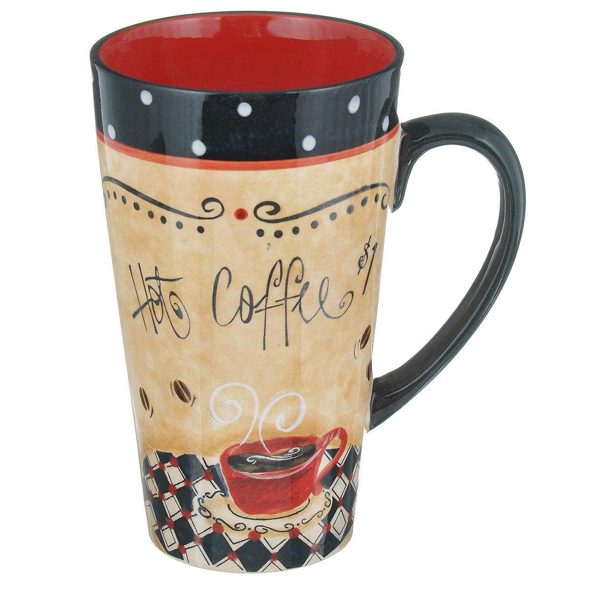 Кружка Certified International Капучино, 470 мл47504_черный,бежевый,красный,белыйКружка Certified International Капучино выполнена из высококачественной керамики и оформлена изображением чашки с кофе. Изделие имеет удлиненную коническую форму. Идеально подходит для подачи кофе. Кружка отличается практичностью и высоким качеством. Кружка Certified International Капучино позволит насладиться любимым напитком. Можно мыть в посудомоечной машине и использовать в микроволновой печи. Диаметр по верхнему краю: 9 см.