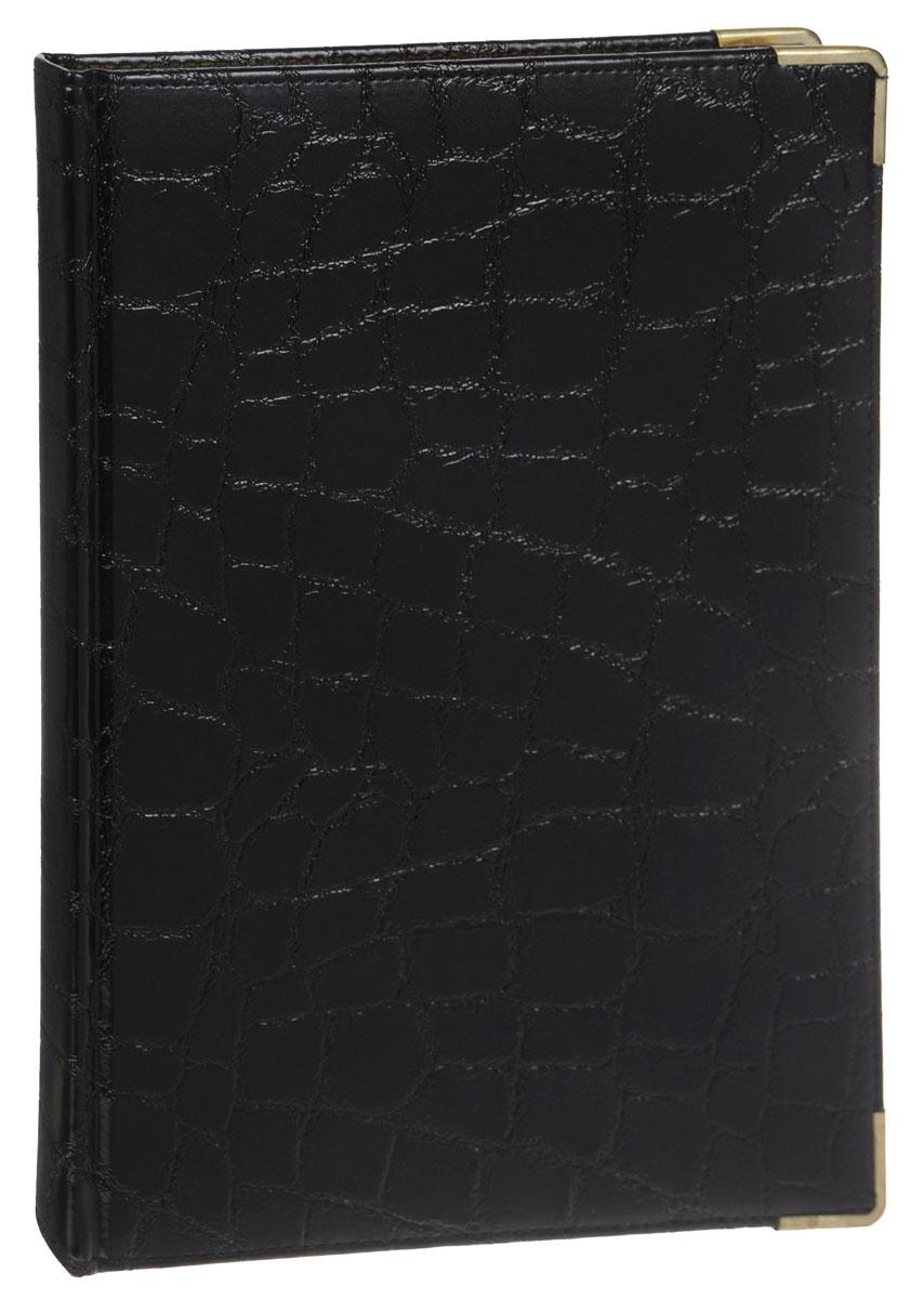 Listoff Книга для записей Grand Croco 160 листов в клетку цвет черныйКЗК41601657Стильная книга для записей - это дополнительный штрих к вашему имиджу. Опрятная и лаконичная книжка может быть использована не только для личных пометок и записей, но и как недатированный ежедневник. Обложка выполнена из высококачественной искусственной кожи, с прострочкой по периметру и поролоновой подкладкой. Металлические скругленные углы защищают книгу от повреждений при активном использовании. Форзацы золотого цвета и двойное ляссе подчеркивают высокий статус изделия. Записная книжка Listoff станет достойным аксессуаром среди ваших канцелярских принадлежностей. Она пригодится как для деловых людей, так и для любителей записывать свои мысли, писать мемуары или делать наброски новых стихотворений.