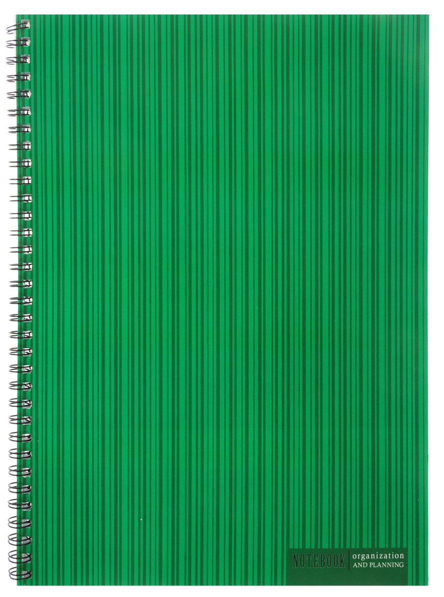 Listoff Тетрадь Оттенки зеленого 60 листов в клеткуТС4604133Тетрадь Listoff подойдет как школьнику, так и студенту. Обложка выполнена из картона и оформлена оригинальным изображением полосок на зеленом фоне. Такая обложка подчеркнет вашу индивидуальность. Внутренний блок состоит из 60 листов белой бумаги. Стандартная линовка в голубую клетку без полей. Листы тетради соединены металлическим гребнем.