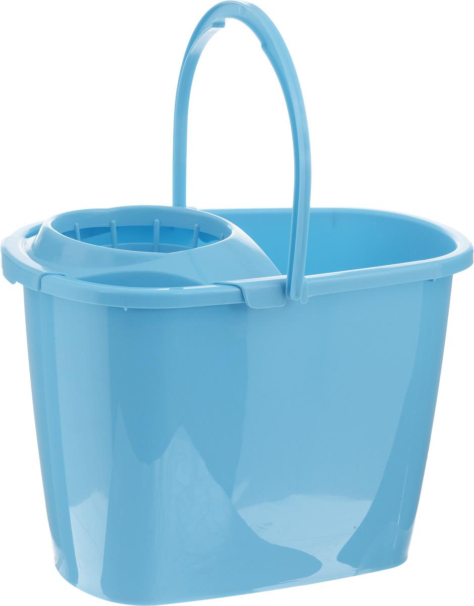 Ведро для уборки Centi, с насадкой для отжима швабры, цвет: голубой, 8 л7008_голубойВедро Centi, изготовленное из прочного пластика, порадует практичных хозяек. Изделие снабжено специальной насадкой, которая обеспечивает интенсивный отжим ленточных швабр. Это значительно уменьшает физические нагрузки при мытье полов. Насадка надежно крепится на ведро и также легко снимается, позволяя хранить ее отдельно. Для удобного использования ведро оснащено эргономичной ручкой. Размер ведра (по верхнему краю): 32,5 х 21 см. Высота ручки: 18 см. Высота ведра: 24 см.