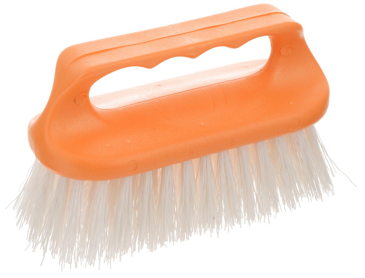 Щетка для одежды Хозяюшка Мила Лилия, цвет: белый, оранжевый20023Щетка Хозяюшка Мила Лилия, изготовленная из высокопрочного пластика, предназначена для удаления различных загрязнений с одежды, а также для нанесения пятновыводителя перед стиркой. Щетина средней жесткости не повреждает поверхность. Длина щетины: 3,7 см.