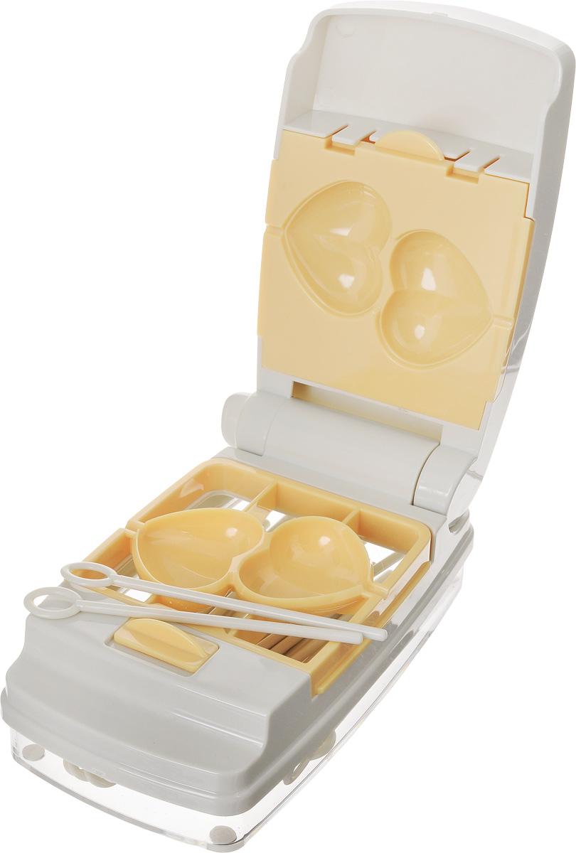 Набор для приготовления пирожного Tescoma Delicia, 58 предметов630876Набор для приготовления пирожного Tescoma Delicia включает в себя пресс для легкой формовки, 6 видов форм (шарик, сердечко, цветочек, деревце, грибочек, яичко), поднос для сервировки и 50 палочек многоразового использования. Изделия выполнены из высококачественного прочного пластика. Такой набор отлично подходит для приготовления и сервировки оригинальной формы пирожных на палочке без запекания, так называемых cake pops. Прилагаются инструкция по эксплуатации и рецепты. Можно мыть в посудомоечной машине. Размер пресса: 15,5 х 8,5 х 6,7 см. Размер форм: 8,5 х 8,5 х 3,4 см. Длина палочек: 10 см. Размер подноса: 20,5 х 20,5 х 2,5 см.