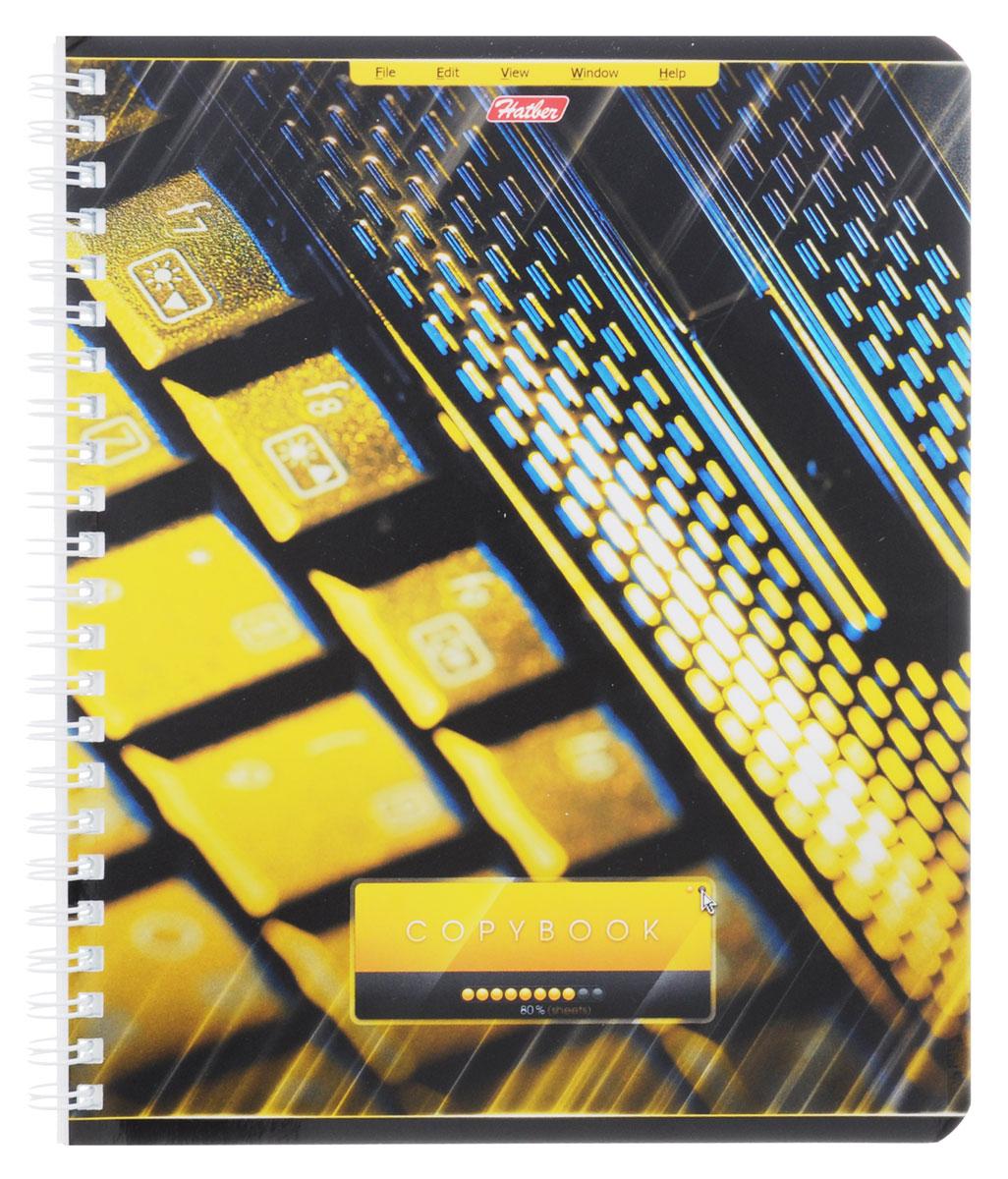 Hatber Тетрадь Офис 80 листов в клетку цвет желтый80Т5вмB1гр_желтаяТетрадь Hatber Офис подойдет как школьнику, так и студенту. Обложка тетради выполнена из картона и оформлена оригинальным изображением. Внутренний блок состоит из 80 листов белой бумаги. Стандартная линовка в голубую клетку без полей. Листы тетради соединены металлическим гребнем.