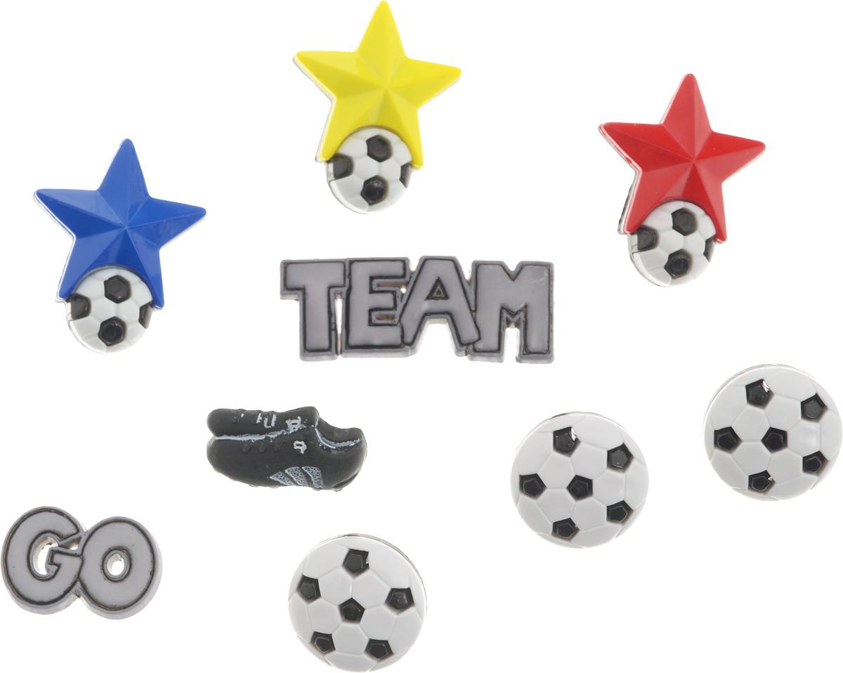 Пуговицы декоративные Buttons Galore & More Soccer, 9 шт7705913Набор Buttons Galore & More Soccer состоит из 7 декоративных пуговиц и 2 фигурок. Все элементы выполнены из пластика. Они подходят для любых видов творчества: скрапбукинга, декорирования, шитья, изготовления кукол, а также для оформления одежды. С их помощью вы сможете украсить открытку, фотографию, альбом, подарок и другие предметы ручной работы. Размер фигурок: 3,5 х 1,4 х 0,2 см; 2 х 1,4 х 0,2 см.. Средний размер пуговицы: 1,8 х 1,8 х 0,4 см.