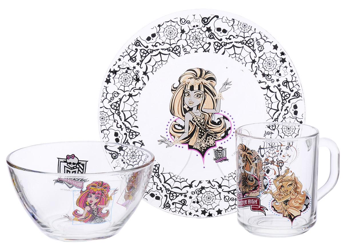 Monster High Набор детской посуды 3 предмета цвет прозрачный черный543976_вариант 4Оригинальный набор посуды Monster High, выполненный из прозрачного стекла, идеально подойдет для повседневного использования. В комплект входят: тарелка диаметром 19,5 см, салатник диаметром 12,5 см и кружка объемом 250 мл. Все предметы выполнены в оригинальном дизайне с изображением героев из мультфильма Monster High. Набор упакован в яркую коробку из плотного картона. Набор посуды непременно доставит массу удовольствия своей маленькой хозяйке.