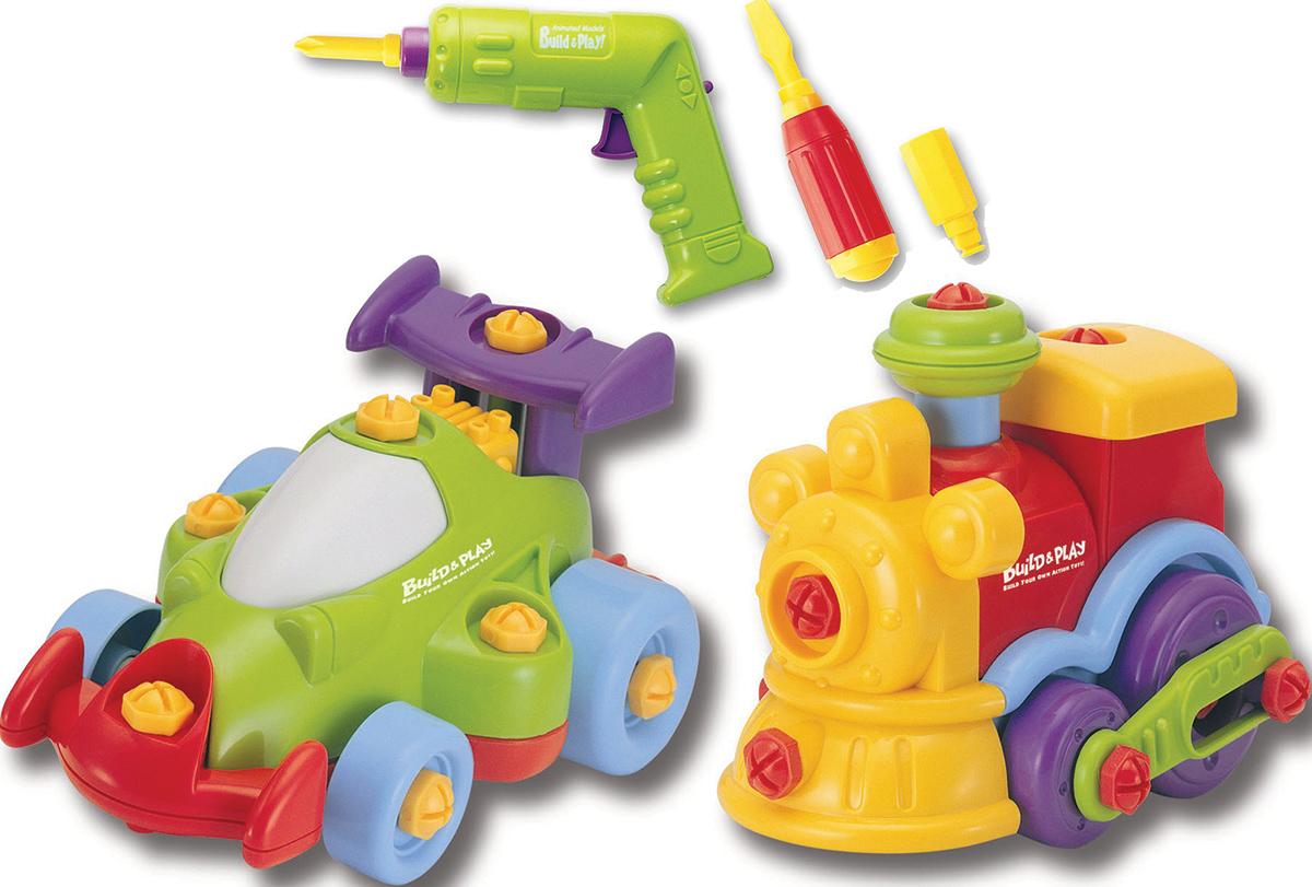 Keenway Развивающая игрушка Buildn Play Машина и паровоз11861Этот набор интересен не только тем, что состоит из двух разных игрушечных машинок для деток, но и тем, что их нужно собрать перед тем, как играть. Специально для этого, в набор входят игрушечные инструменты: отвертка, шуруповерт (работающий на батарейках) и пластиковые большие шурупы. Деткам набор будет полезен так-же, как развивающая игра, ведь нужно будет немножко подумать и потрудится, прежде чем приступить к игре. Набор прививает внимательность, развивает мелкую моторику детских пальчиков, и пространственное мышление. Игрушка предназначена для детей от трех лет. В набор входят: Шуруповерт работающий от батареек идущих в комплекте (тип АА, 2 шт); Отвертка с тремя насадками : крестовая, плоская и шестигранная; 2 игрушечных машинки (зависит от набора); Детали для сборки машинки и паровозика: 21 деталь и 24 детали соответственно; Шурупы разных цветов; Все детали изготовлены из безопасного ABS пластика. Для работы необходимы батарейки (тип АА, 2 шт.), которые так-же идут в комлекте!