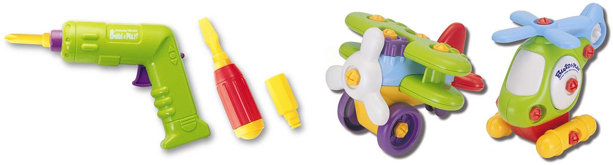 Keenway Развивающая игрушка Buildn Play Аэроплан и вертолет11863Игрушка-конструктор, которая развивает логическое мышление, память и мелкую моторику рук. Ребенок сам собирает перед игрой вертолёт и аэроплан из набора BUILDN PLAY Keenway при помощи отвёртки и шуруповёрта. Отвёртка имеет три насадки – крестовую, шестигранник и плоскую для успешного крепления всех деталей между собой. Шуруповёрт электронный, на батарейках, он быстро справится с любой работой. - транспортные средства – 2шт.; - инструменты – 2 шт.; - детали для аэроплана – 9 шт.; - детали для вертолёта – 10 шт.; - батарейки в комплекте.