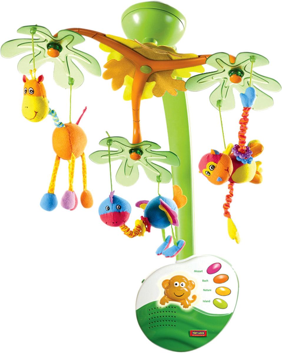 Tiny Love Мобиль музыкальный с ночником Остров сладких грез130080Е002Фантазийный мобиль с ночником, тремя подвижными плафонами, выполненными в замысловатой форме из морозного пластика, к каждому из которых прикреплена симпатичная мягкая игрушка, которая движется в 3 плоскостях. Музыкальный репертуар состоит из 2 классических мелодий и 2 треков со звуками природы общей продолжительностью 20 минут. Мобиль снабжен регулятором громкости (в том числе доступен беззвучный режим), также на основном блоке находятся кнопки выбора конкретного произведения и регулировки подсветки. Мобиль может использоваться в качестве классического мобиля в первые месяцы жизни ребенка, а затем после демонтажа дуги с плафонами превращается в симпатичный ночник, который прослужит малышу еще много месяцев. Мобиль работает от батареек и снабжен пультом дистанционного управления (прямой радиус до 4,5 м). В комплект входит: базовое основание с универсальным винтовым креплением - 1 шт., основной блок - НОЧНИК - 1 шт., сборная дуга для плафона - 1 шт., механический элемент...