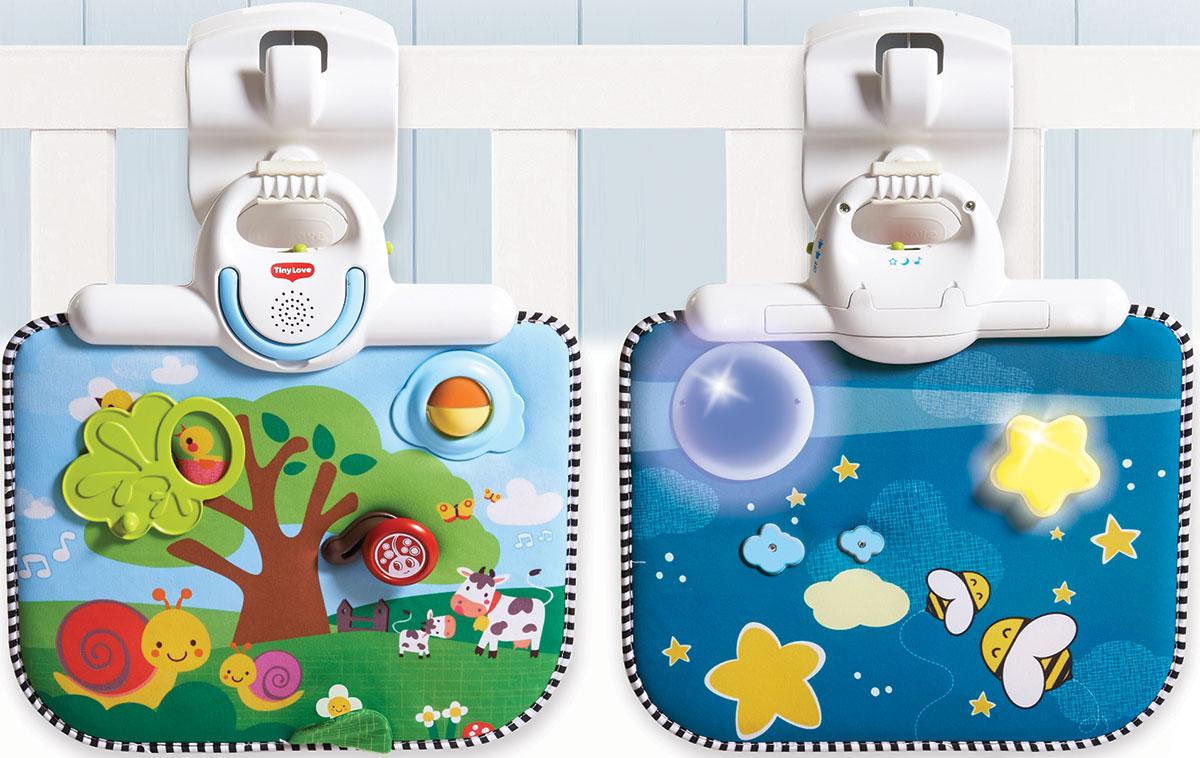 Tiny Love Двусторонний развивающий центр1303306830Малый универсальный мобиль второго поколения поможет вашему ребенку лучше концентрировать свое внимание и фокусировать зрение на игрушках. Он может крепиться на кроватку малыша, коляску или даже на детское сиденье автомобиля. Этот уникальный детский музыкальный мобиль включает в себя сразу несколько функций, необходимых для правильного развития вашего малыша. Можно выбрать несколько типов вращения: может вращаться весь мобиль или каждая игрушка отдельно. Этот развивающий детский мобиль оборудован так же звуковыми эффектами, поэтому при вращении игрушек можно включить музыку. Это многофункциональное оборудование имеет пять разных мелодий, общая продолжительность звучания которых составляет около тридцати минут. Игрушки, которые крепятся на дугу, мягкие и очень оригинальные. Их можно будет снимать, когда ребенок немного подрастет, и давать ему играть ими. Этот мобиль крепится тремя способами. Здесь есть стойка, с помощью которой можно прикрепить развивающие приспособления к кроватке...