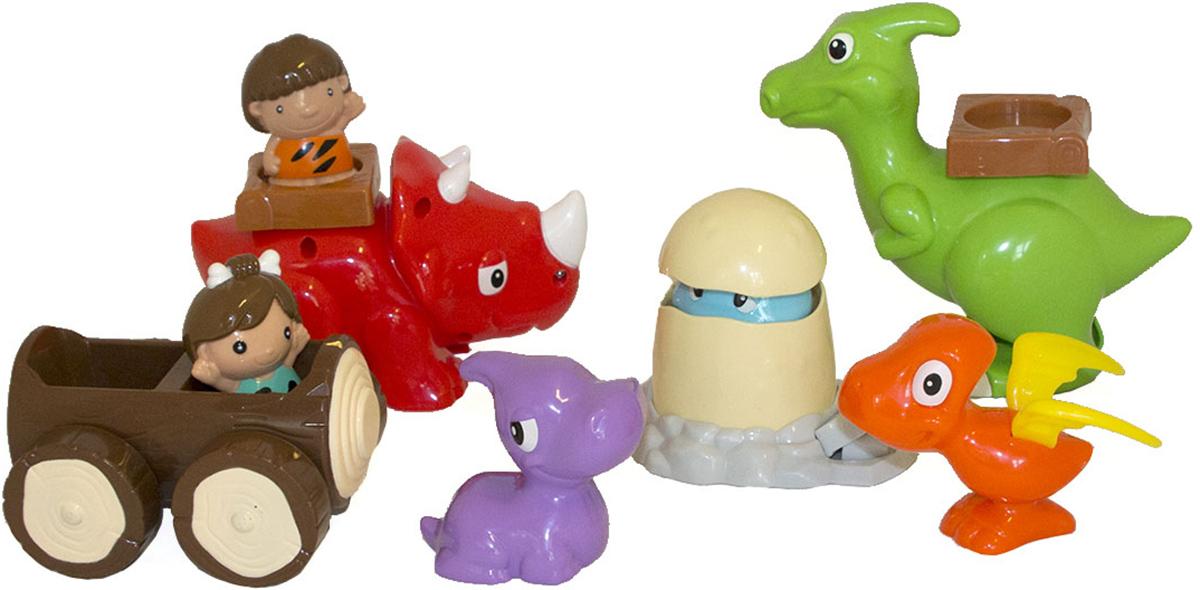 Keenway Развивающая игрушка Дино Парк13634Комплект: 4 фигурки динозавров, 1 яйцо с детенышем, 2 фигурки пещерных людей, 1 машинка.Цвет: оранжевый, зеленый, красный, фиолетовый, белый, коричневый, голубой. С помощью игрового набора Дино-парк ребенок сможет представить доисторическую эпоху, в которой главными действующими лицами были динозавры. В комплект, помимо 4 разных динозавров, входят 2 фигурки пещерных людей, которых можно посадить в машинку или на спину динозавров, зафиксировав в специальном седле. Если малыш нажмет на кнопочку рядом с яйцом, верхняя часть его приподнимется и из него выглянет мордочка детеныша динозавров. Все элементы выполнены из безопасного пластика в ярких контрастных цветах и имеют забавный внешний вид, поэтому легко увлекут ребенка и подарят ему много радостных эмоций.