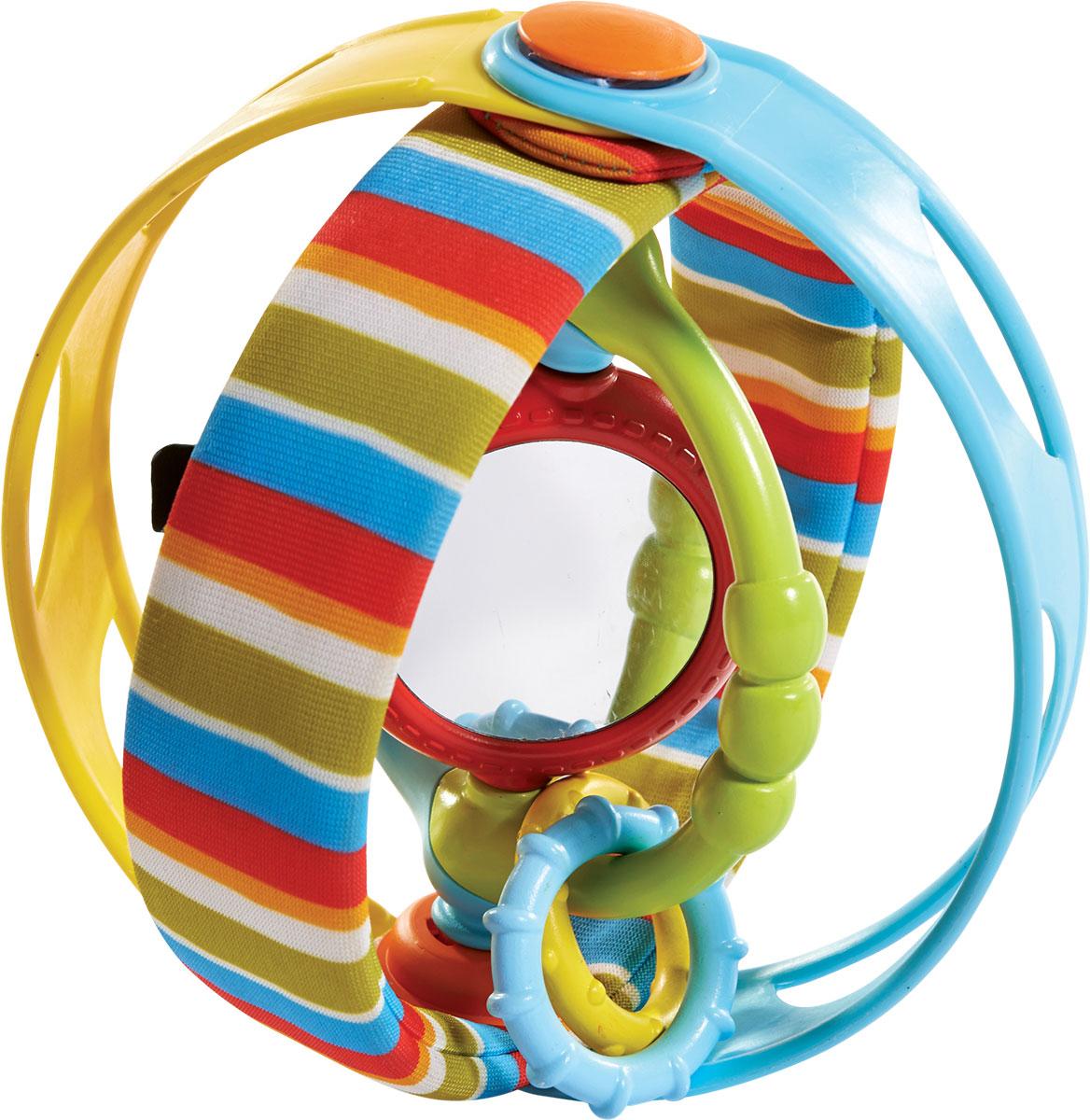 Tiny Love Развивающая игрушка Вращающийся бубен1502606830Развивающая игрушка Вращающийся бубен от бренда Tiny Love предназначена для игры на животике, развития мелкой моторики, а также в качестве мячика. Яркая расцветка привлечет внимание малыша, а разнообразная текстура позволит развить тактильные ощущения. Игрушка оснащена безопасным зеркальцем, шуршащими элементами, а также радужной анимацией: это позволяет малышу тренировать глазные мышцы и фокусировать зрение. Игрушку можно катить как мячик, установить как подставку с кольцами, а также посредством двигающихся колец и звукового наполнения использовать в виде музыкального инструмента.