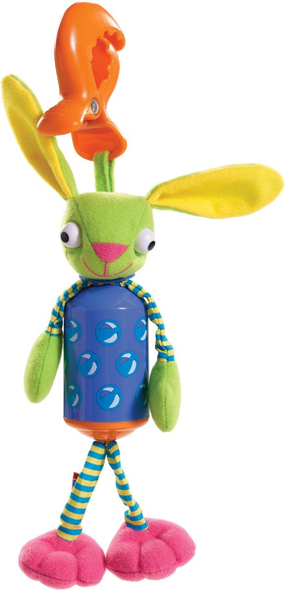 Tiny Love Развивающая игрушка Зайчик-колокольчик4701000Развивающая игрушка Tiny Love Зайчик-колокольчик - звонкий колокольчик, длинные ушки шершавые на ощупь, а ножки и ручки сделаны из разных на ощупь материалов для развития тактильных ощущений малыша. Благодаря надежному и удобному креплению краб, игрушку можно закрепить на коляске, коврике, кроватке, манеже или автокресле.