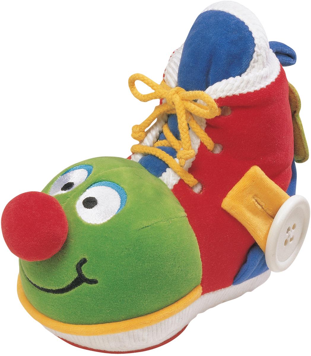 Развивающая игрушка Ботинок с зеркаломKa 206С помощью этой замечательной игрушки Ваш малыш быстро научится шнуровать ботинки, расстегивать и застегивать пуговицы, пользоваться молниями. В башмачке есть небьющееся зеркальце, в носике спрятана погремушка, внутри башмачка есть пищалка, а материал игрушки - комбинированный: от очень мягкого до шероховатого, что так важно для тактильных ощущений малышей. Игрушка оказывает влияние на физическое развитие ребенка: развивает моторику рук, помогает укрепить познания ребенка в логике, развивает коммуникативные навыки и повышает самооценку малыша.