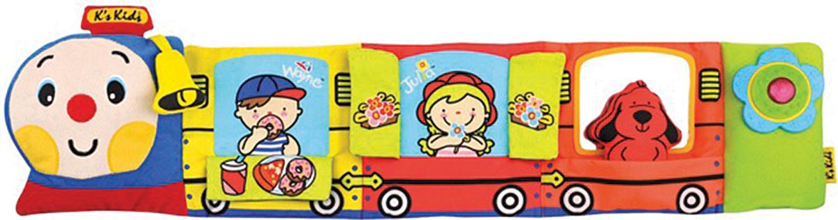 Ks Kids Развивающая игрушка Паровозик Чух-ЧухKA663Яркий разноцветный подвесной паровозик изготовлен из материалов разной текстуры. Есть и гладкие, и ворсистые, и шуршащие элементы. малышу будет интересно изучать поезд с его пассажирами, а дверцы поезда могут открываться, а в третьем вагоне зеркало и собачка, которую можно достать и играть с ней отдельно. Паровозик имеет световые и звуковые эффекты, может работать в двух режимах: поезд едет - играет веселая мелодия и раздаются звуки движущегося поезда, длится этот режим около 15 секунд. И второй - колыбельная, она длится 15 минут и поможет малышу уснуть.