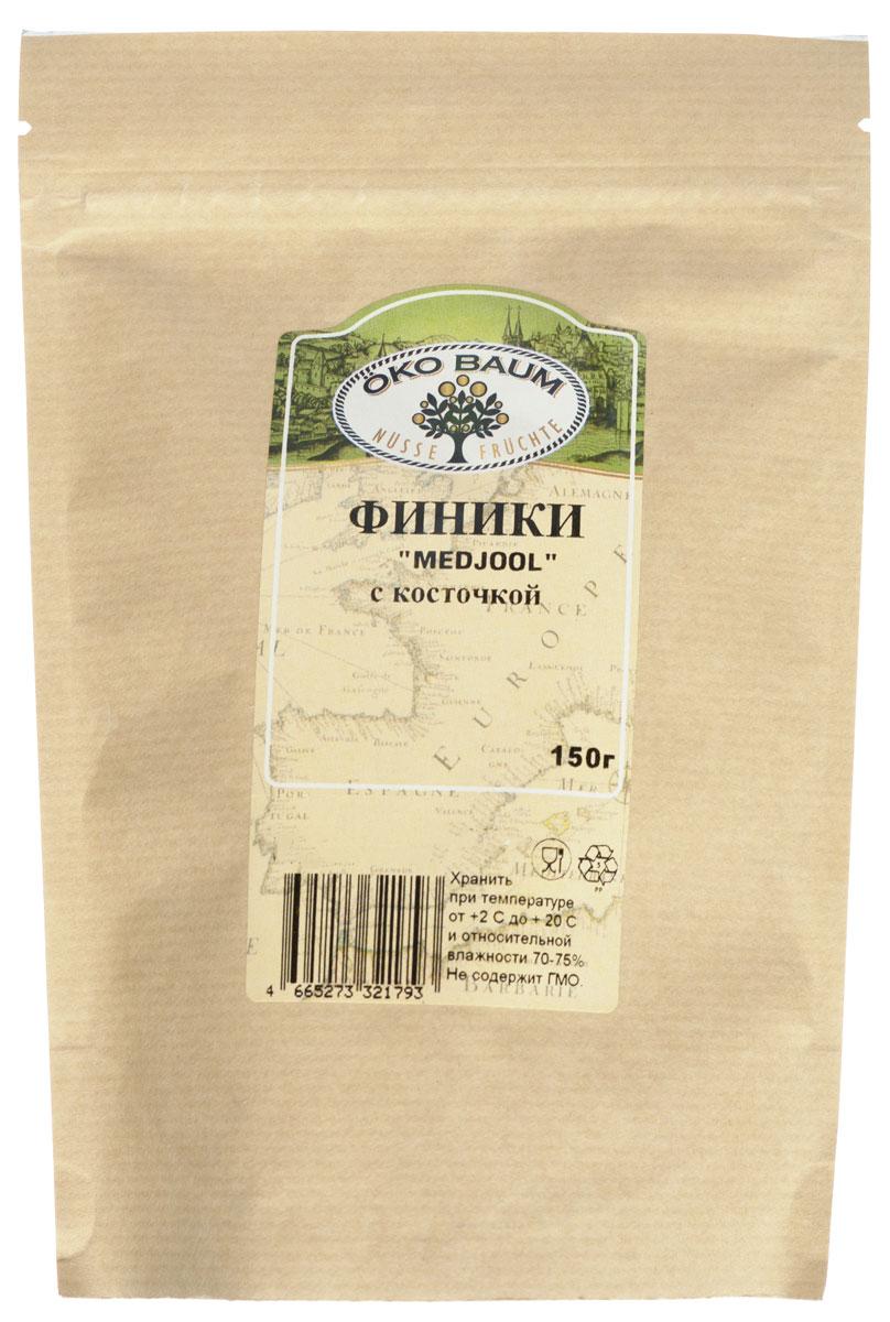Oko Baum финики Medjool с косточкой, 150 г4665273321793Крупные, мягкие финики сорта Medjool отличаются сладким, медовым вкусом. Финики - один из самых древних видов фруктов, играющие ответственную роль в полноценном питание человека. Финики предпочтительнее других фруктов своими уникальными питательными свойствами и содержат: железо, фосфор, медь, марганец, магний, калий и многие другие элементы. Благодаря высокому содержанию калия они полезны людям с заболеваниями сердца. Финики обладают нежным, сладким вкусом и являются пищей, идеальной для легкого и быстрого пищеварения. Финики весьма калорийны, поэтому являются хорошим источником энергии, например, во время длительных походов. Рекомендуется употреблять как самостоятельное лакомство, а также добавлять в десерты и выпечку.