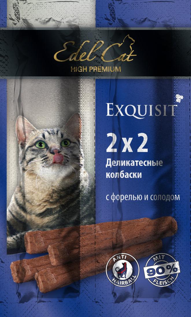 Edel Cat Колбаски-мини - форель солод 4 колбаски1001873Вкусные жевательные колбаски для кошек. На 90%состоят из свежего мяса с добавлением витаминно -минерального комплекса. Минеральные вещества: Сырой протеин 33,5%, влажность 28%, сырой жир 20%, Сырая зола 9%, сырая клетчатка2% Состав: Мясо и мясопродукты (90%), рыба и рыбные продукты (4% форели),растительные продукты (4% солод), минеральные вещества.