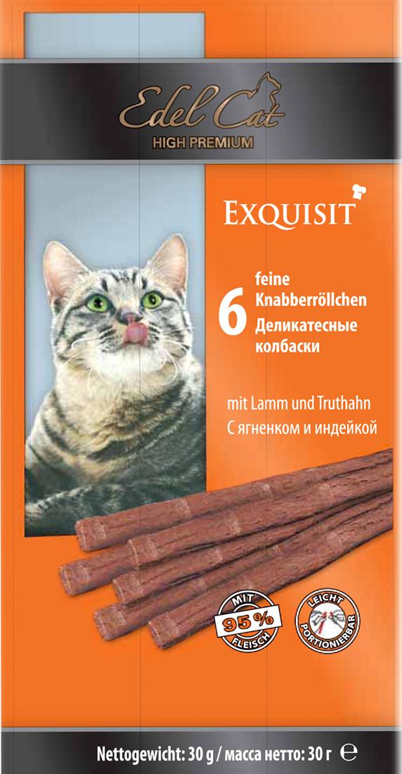 Лакомство для кошек Edel Cat, деликатесные колбаски, с ягненком и индейкой, 6 шт1002183Лакомство для кошек Edel Cat - вкусные жевательные колбаски для кошек. Они на 95% состоят из свежего мяса с добавлением витаминно -минерального комплекса. Состав: мясо и мясопродукты (95% в том числе 6% ягненок, 6% индейка), минеральные вещества. Минеральные вещества: сырой протеин 33,5%, влажность 28%, сырой жир 20%, сырая зола 10%, сырая клетчатка 2%. Товар сертифицирован.