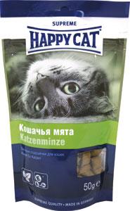Лакомство для кошек Happy Cat, с кошачьей мятой, 50 г190106Лакомство для кошек Happy Cat - лакомые подушечки, которые устраняют стресс при переездах и повышают настроение вашего питомца. Можно использовать как перекус между кормлениями. Состав: злаки, мясо и мясопродукты, масла и жиры, растительные белковые экстракты, рыба и рыбные продукты, яйцо, дрожжи, молоко и молочные продукты, растительные продукты ( кошачья мята - 0,5%) Аналитический состав: протеин 30%, жир 20%, клетчатка 2%, зола 6%. Витамин А 9000МЕ/кг, витамин D3 630МЕ/кг, витамин Е 90 мг/кг. Антиоксиданты и естественные красители. Товар сертифицирован.