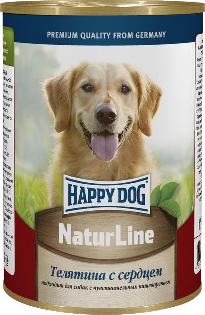 """Консервы для собак Happy Dog """"Natur Line"""", телятина с сердцем, 400 г 71427"""