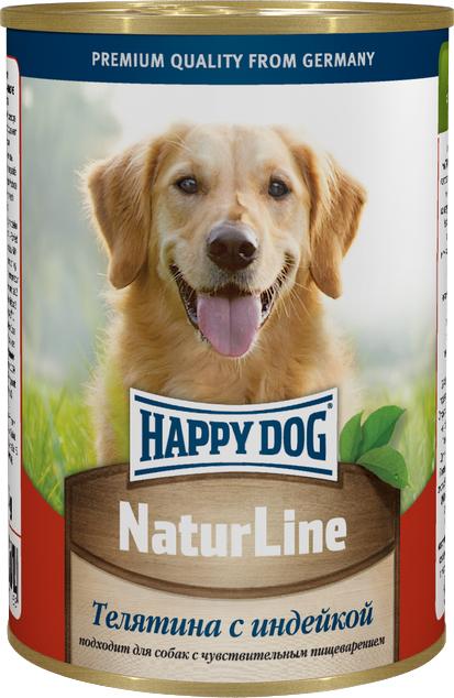 Консервы для собак Happy Dog Natur, с телятиной и индейкой, 400 г71458Консервы для собак Happy Dog Natur предназначены для кормления взрослых собак всех пород. Основу рациона собаки должно составлять мясо, ведь именно мясо является источником животного белка - необходимого строительного материала всего организма. Консервы для собак Happy Dog Natur с телятиной и индейкой не содержат сою, искусственные красители и консерванты и приготовлены из ограниченного числа ингредиентов, поэтому вам не составит труда исключить из рациона вашего питомца все потенциальные аллергены. В основе консервов находится высококачественная телятина и индейка, которые придутся по вкусу каждому, даже самому разборчивому в еде животному. Телятина богата качественным белком, витаминами, минералами и содержит лишь небольшое количество холестерина, что положительно сказывается на здоровье сердечно-сосудистой системы. Среди входящих в состав телятины витаминов можно выделить витамины группы B, необходимые для нормальной работы ЦНС и...
