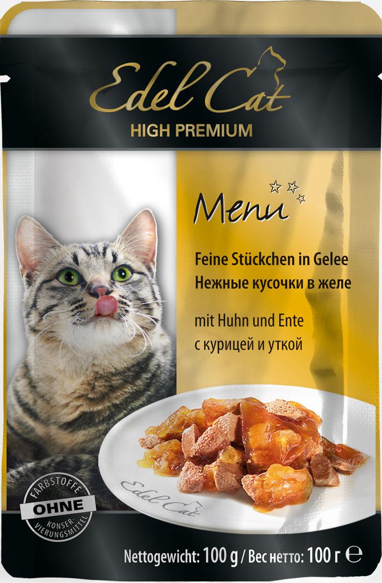 Edel Cat С курицей и уткой нежные кусочки в желе 100г8106Полнорационный консервированный корм для кошек. Изготовлен на основе мысопродуктов с добвлением витаминно - минерального комплекса. Минеральные вещества: влажность 82%, сырой протеин 8,5%, сырой жир 4,5% сырая зола 2,0%, сырая клетчатка 0,3%, витамин Д3 250 МЕ, цинк (сульфат цинка, моногидрат) 18мг, витамин Е (альфа – токоферолацетат) 15мг, медь (сульфат меди ||, пентагидрат) 1мг, марганец (сульфат марганца ||, моногидрат) 1 мг. Состав: мясо и мясопродукты (5% курицы, 5% утки), минеральные вещества, инулин (0,1%).