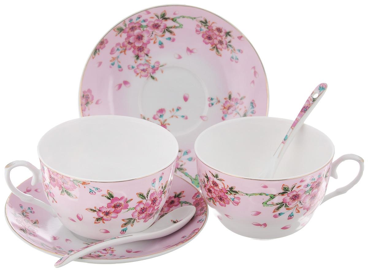 Набор чайных пар Elan Gallery Сакура, с ложками, 6 предметов730495Набор чайных пар Elan Gallery Сакура состоит из 2 чашек, 2 блюдец и 2 ложек. Предметы набора выполнены из высококачественной керамики и оформлены изящным изображением цветочных узоров. Яркий дизайн, несомненно, придется вам по вкусу. Набор чайных пар Elan Gallery Сакура украсит ваш кухонный стол, а также станет замечательным подарком к любому празднику. Объем чашки: 250 мл. Диаметр чашки (по верхнему краю): 9,5 см. Диаметр дна чашки: 4 см. Высота чашки: 6 см. Диаметр блюдца: 14 см. Высота блюдца: 2 см. Длина ложки: 12,5 см.