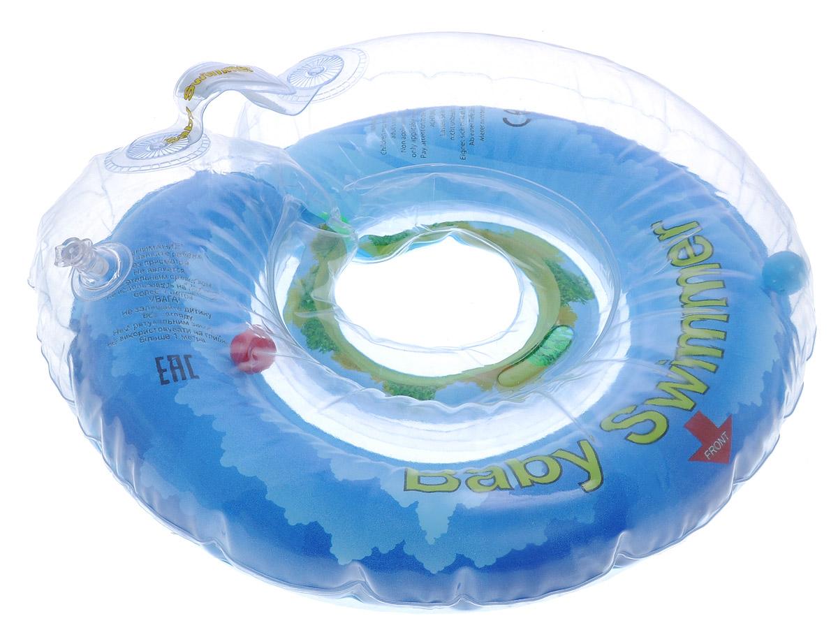 Baby Swimmer Круг на шею Солнечный остров с погремушкой 6-36 кгBS12В-BКруг на шею Baby Swimmer с погремушками внутри предназначен для купания малышей с рождения в домашних условиях или на открытом воздухе на глубине не более 1 метра. Одетый на шею ребенка круг не доставляет малышу никакого дискомфорта, ввиду применения технологии внутреннего шва, который делает края мягкими на ощупь. На внутренней стороне круга имеется вставка для подбородка ребенка, которая надежно фиксирует его положение и препятствует соскальзыванию. Двусторонняя липкая застежка сверху и снизу круга обеспечивает повышенную безопасность и позволяет регулировать внутренний размер круга, что делает возможность получить комфортное прилегание к шее ребенка. Благодаря двум раздельным контурам, надувающимся отдельно, создается дополнительная безопасность во время купания ребенка. Круг Baby Swimmer является отличным помощником для родителей и большой радостью для детей, так как дает им возможность полной свободы действия в воде! Круг на шею изготовлен из...