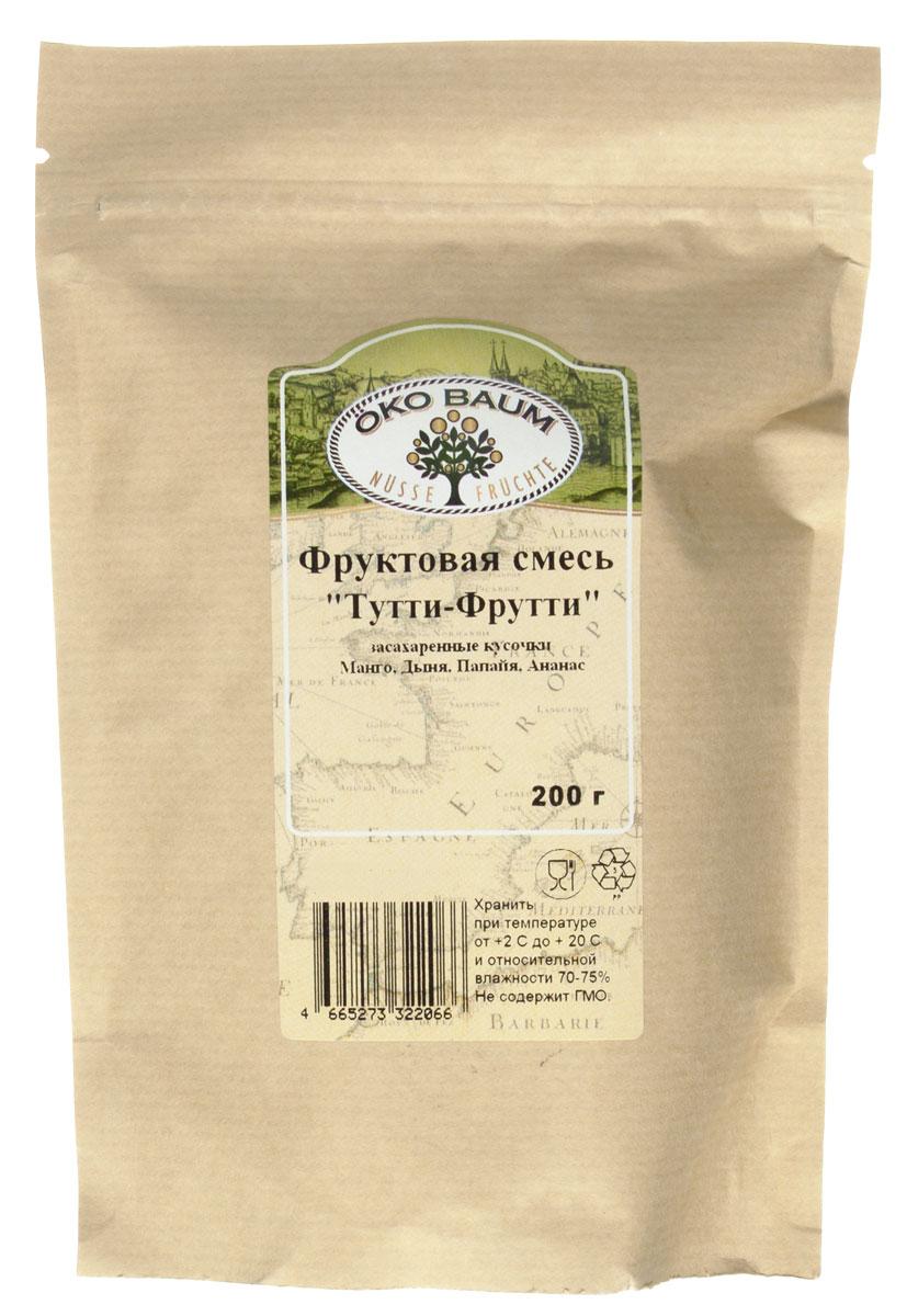 Oko Baum Тутти-Фрутти смесь цукатов, 200 г4665273322066Засахаренные кусочки манго, дыни, папайи и ананаса - чудесное и вкусное лакомство для взрослых и детей! Можно добавлять в каши, мороженное, йогурты. Также отлично подходит для домашней выпечки.
