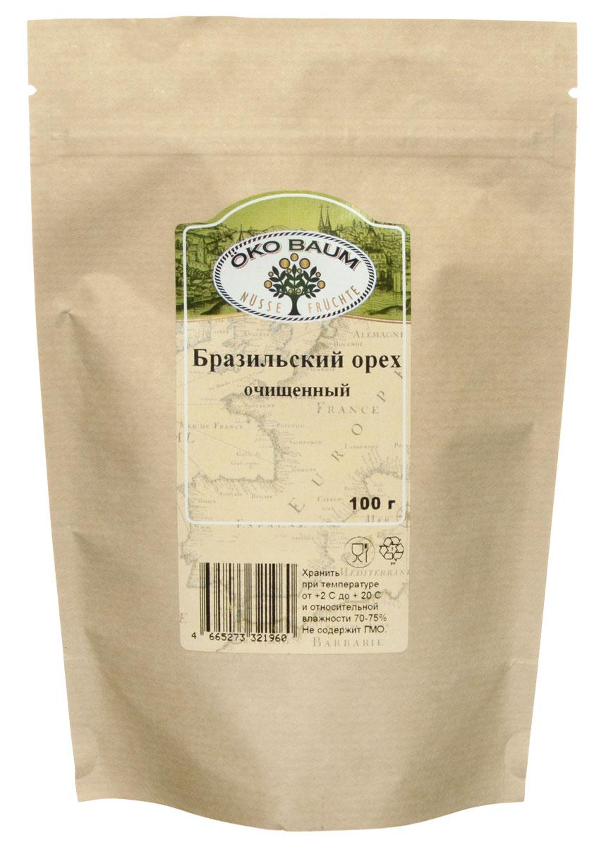 Oko Baum бразильский орех очищенный, 100 г4665273321960Польза бразильского ореха для здоровья чрезвычайно высока, плоды ореха состоят на две трети из жиров, причем основная часть это ненасыщенные. Подобно кешью и грецким орехам, бразильские обладают высоким содержанием протеинов и клетчатки. Клетчатка незаменима для кишечника, улучшает его работу, усиливает перистальтику, способствует очищению организма. Селен, входящий в большом количестве в состав бразильского ореха, оказывает профилактическое воздействие на возникновение и развитие онкологических заболеваний кишечника, груди, предстательной железы, легких. Чтобы получить суточную норму селена достаточно съесть 1-2 ореха. Поступающие из ореха полезные вещества помогают организму справиться с депрессией, стрессами, буквально восполняют жизненную энергию.