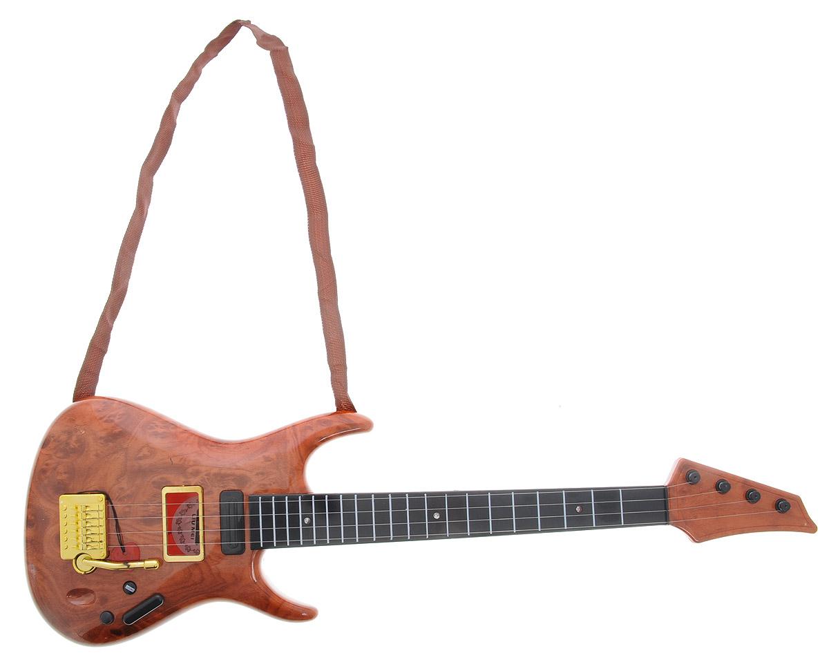ABtoys Электрогитара DoReMi цвет коричневыйD-00038Музыкальная игрушка электрогитара DoReMi непременно понравится вашему ребенку и не позволит ему скучать. Она выполнена из прочного пластика и оснащена световыми эффектами. Данное изделие сможет стать первым музыкальным инструментом юного композитора или рок-певца. Игрушка имеет малый вес и произведена из высококачественной пластмассы - устойчивой к повреждениям и безопасной для детей. Гитара имеет четыре металлические струны. Игрушка снабжена текстильным ремнем для более удобной игры. Электрогитара DoReMi поможет ребенку развить звуковое восприятие, музыкальный слух, мелкую моторику рук и координацию движений. С такой игрушкой ваш ребенок порадует вас замечательным концертом! Рекомендуется докупить 3 батарейки напряжением 1,5V типа АА (не входят в комплект).