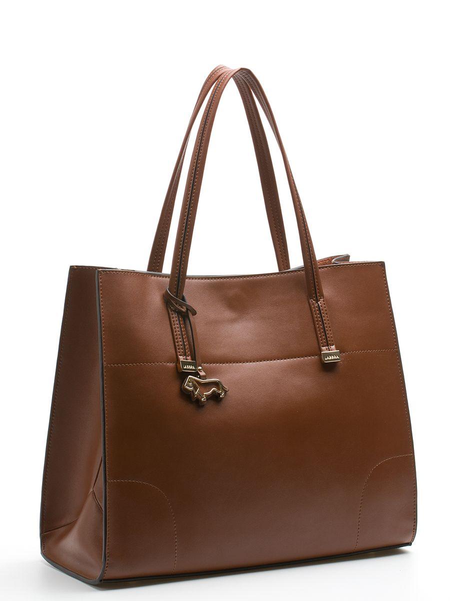 Сумка женская Labbra, цвет: коньячный. L-DA80616-2L-DA80616-2Стильная женская сумка Labbra выполнена из натуральной кожи, дополнена золотистой фурнитурой и подвеской в виде символики бренда. Изделие имеет два вместительных отделения, одно из которых съемное (крепится к сумке с помощью кнопок). Съемное отделение выполнено из полиэстера и натуральной кожи, оформлено звериным принтом и может использоваться в качестве самостоятельной сумочки-косметички. Оно закрывается на застежку-молнию, внутри имеется прорезной карман на молнии, а снаружи два открытых пришивных кармана для телефона и мелочей. Роскошная сумка внесет элегантные нотки в ваш образ и подчеркнет ваше отменное чувство стиля. Лаконичный цвет и простая форма помогут ей вписаться даже в самый сложный и продуманный гардероб.