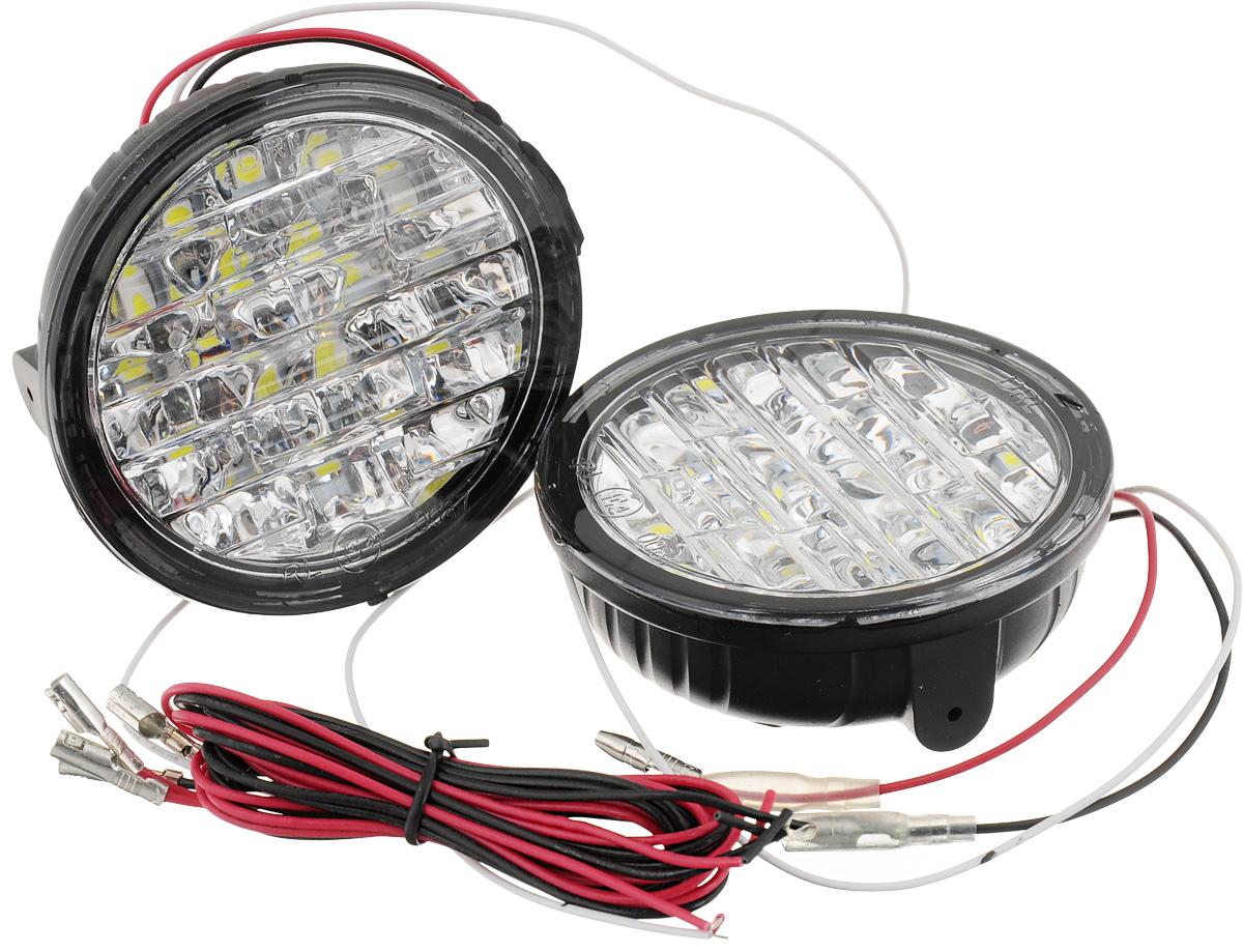 Дневные ходовые огни DLED DRL- 73, 2 шт3143Дневные ходовые огни DLED DRL- 73 используется в автомобилях. Яркость в 460 кандел обеспечивают 18 светодиодов SMD5050, установленных в блок-фаре ДХО. Каждый светодиод находится в индивидуальном отражателе, что повышает видимость автомобиля в потоке. В ходовых огнях уже есть встроенное реле, обеспечивающее правильную работу ходовых огней согласно требованиям правил дорожного движения. Общая яркость: 460 кд. Тип светодиода: SMD5050. Угол света: 100°. Блок-фара состоит из 18 светодиодов SMD5050. Количество светодиодов: 18. Цоколь: передний бампер. Мощность: 4,32 Вт. Питание: 12 В. Цветовая палитра: белый.