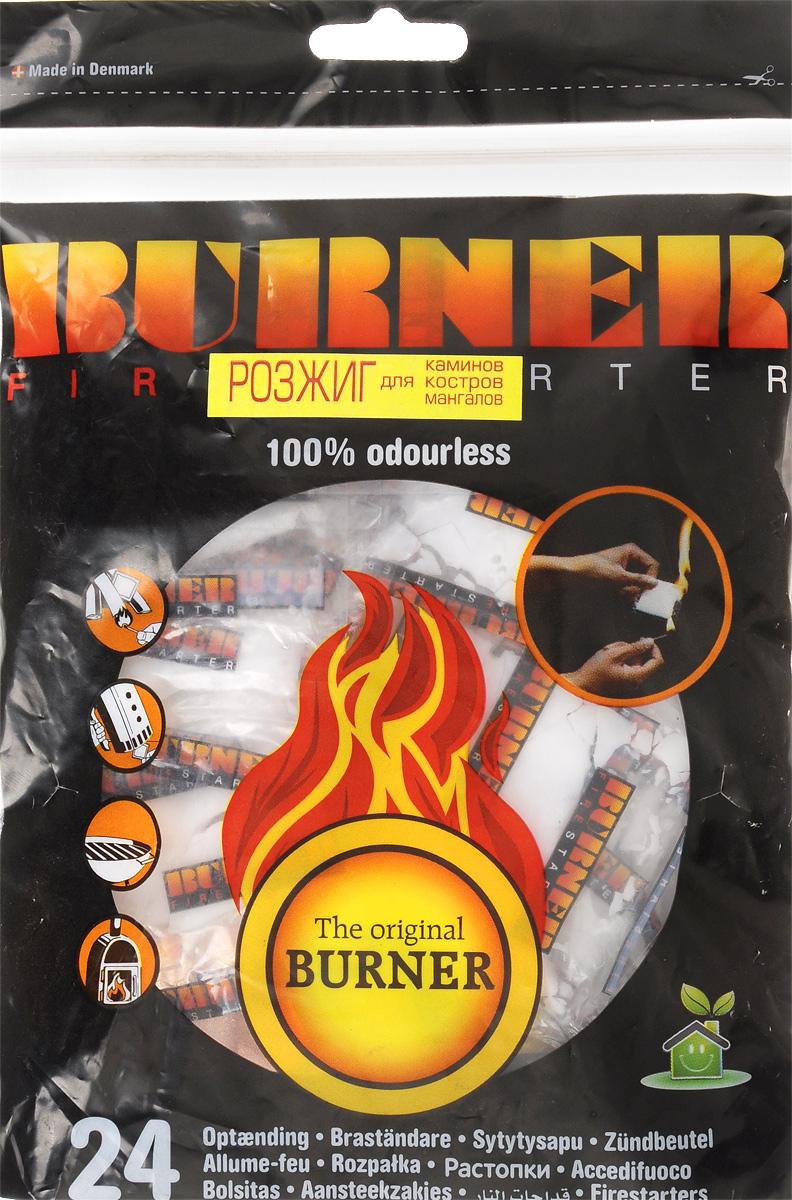 Средство для розжига Burner, 24 шт02241Розжиг Burner экологически безопасен, удобен в хранении и перевозке - никакой грязи и запахов. Идеальное средство для розжига мангалов, каминов, печей и костров. Кроме того, розжиг Burner не боится сырости и поэтому идеален в походе, на рыбалке, охоте, и в других достаточно экстремальных условиях, когда необходимо разжечь костер для обогрева или приготовления пищи. В комплект входит 24 пакетика для розжига. Состав: высококачественные N-парафины, растительное масло.