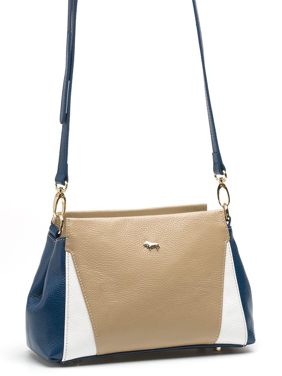 Сумка женская Labbra, цвет: бежевый, синий. L-SD1022L-SD1022Изящная маленькая сумка Labbra выполнена из натуральной кожи с зернистой фактурой, декорирована золотистой фурнитурой и подвеской в виде символики бренда. Сумка имеет вместительное основное отделение на застежке-молнии. Внутри имеется прорезной карман на застежке-молнии и два накладных кармана для телефона и мелочей. Изделие оснащено практичным плечевым ремнем, выполненным из кожи, а также небольшими металлическими ножками, которые будут предохранять дно сумки от преждевременного износа, трения о твердые поверхности, а также от загрязнения. Прилагается фирменный текстильный чехол для хранения. Роскошная сумка внесет элегантные нотки в ваш образ и подчеркнет ваше отменное чувство стиля. Лаконичный цвет и простая форма помогут ей вписаться даже в самый сложный и продуманный гардероб.