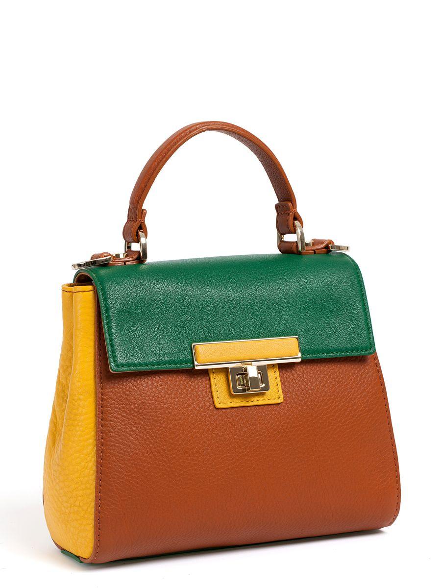 Сумка женская Palio, цвет: коричневый, желтый, зеленый. 14482A1-W214482A1-W2Оригинальная небольшая женская сумка Palio изготовлена из мягкой натуральной кожи комбинированных цветов. Внутри расположено главное отделение, один небольшой карман на молнии для мелочей и один открытый карман для телефона. На тыльной стороне расположен вшитый карман на молнии. Сумка закрывается клапаном на вертушку. Сумка оснащена съемным плечевым ремнем, длина которого регулируется с помощью пряжки, а фиксируется он с помощью замков-карабинов. Сумка - это самая верная спутница любой модницы. С аксессуаром от Palio ваш образ будет запоминающимся и оригинальным.