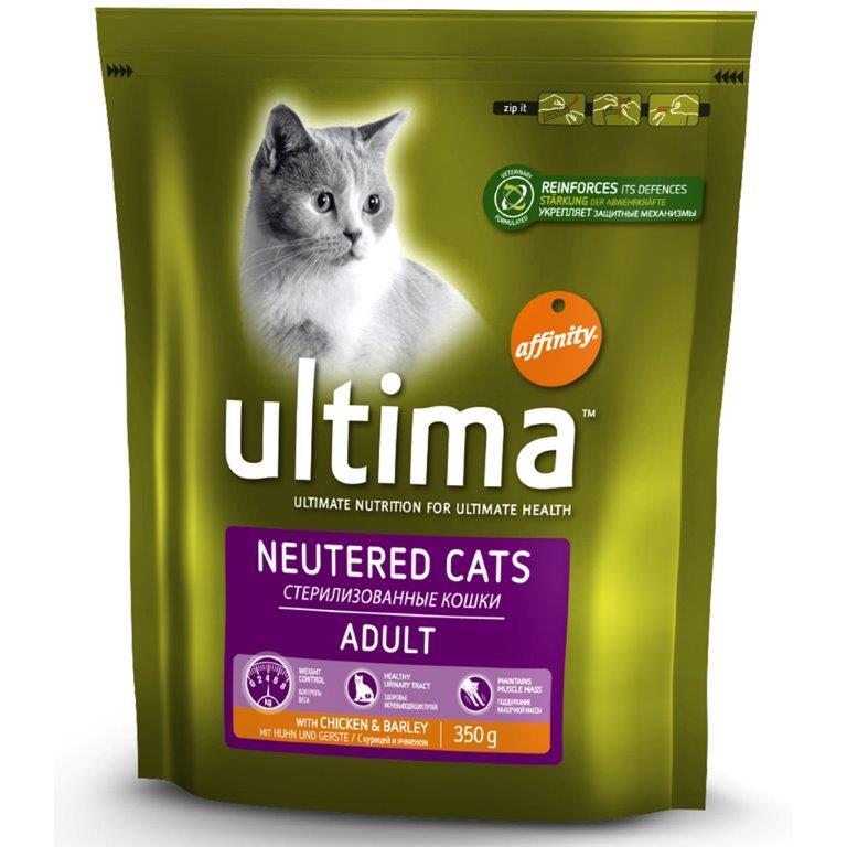 Корм для взрослых стерилизованных кошек ULTIMA UHC STERILIZED CHICKEN с курицей и ячменем 350г1850005