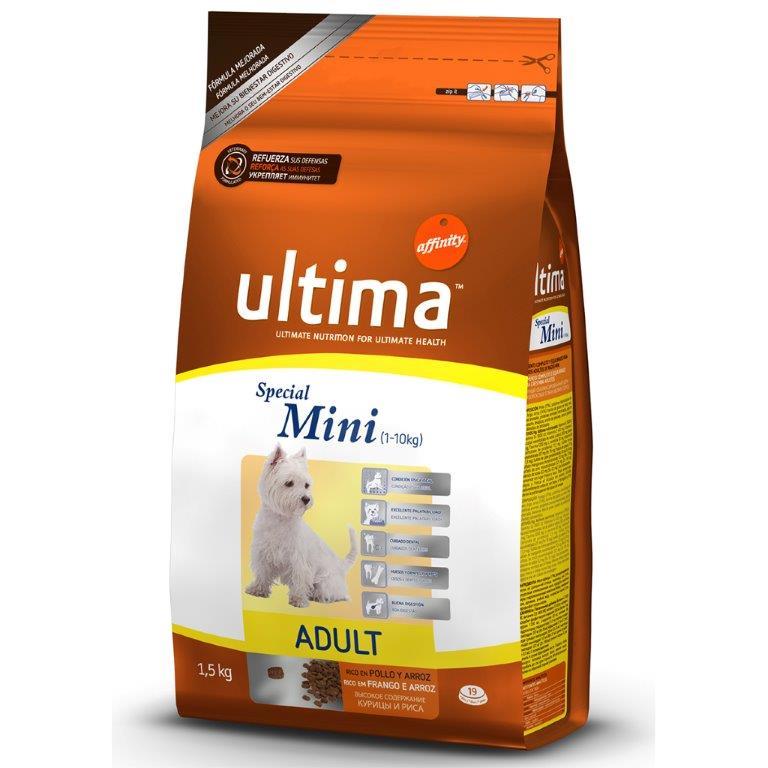 Корм для взрослых собак мини ULTIMA UHD SPECIAL MINI AD пород с курицей, рисом, злаками, 1,5 кг1850019