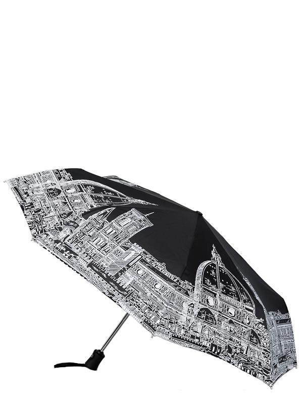 Зонт женский Eleganzza, автомат, 3 сложения, цвет: черный. A3-05-0248A3-05-0248Женский зонт-автомат. Материал купола 100% полиэстер, эпонж. Материал каркаса: сталь + фибергласс. Материал ручки: пластик. Длина изделия - 28 см, диаметр купола - 98 см.