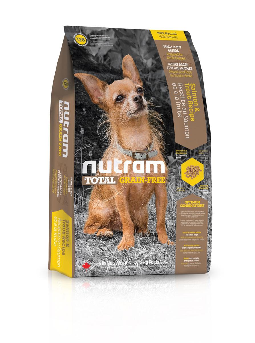 Без зерновой сухой корм для собак мелких пород из мяса лосося и форели T28 Nutram GF SB Salmon & Trout Dog Food 2.72 кг -82753Беззерновой Нутрам (NUTRAM GRAIN FREE) отличается от многих других беззерновых кормов, представленных на рынке! В его составе: - Нет картофеля - Углеводы с низким гликемическим индексом (ГИ), полученные из бобовых (турецкий горох и зеленый горошек) - Органические пребиотики ( морские водоросли и инулин агавы) - Мощные супер-продукты, такие как лебеда, семена чии , свежие ягоды, гранат и капуста - Свыше 90% свежих фруктов и овощей канадского производства