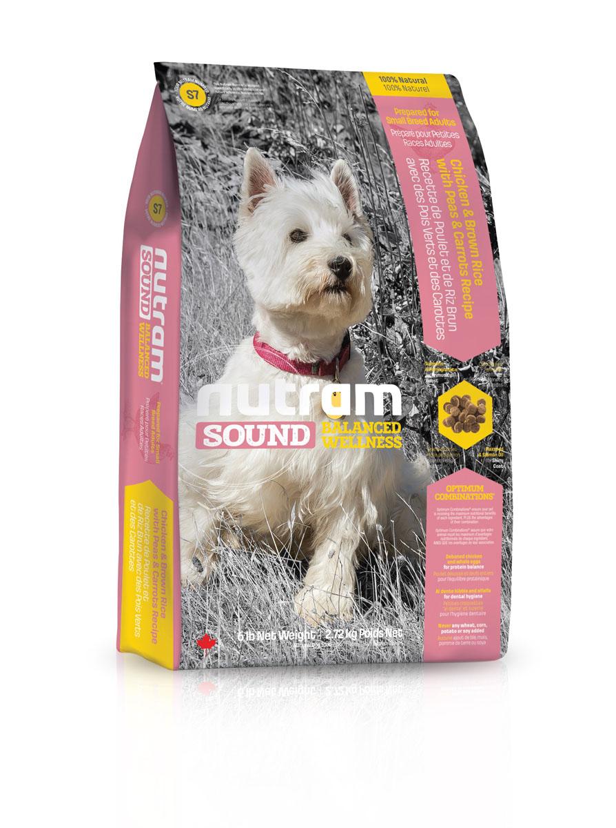 Сухой корм для собак мелких пород S7 Nutram Sound Small Breed Adult Dog - 2.72 кг83101Целостный (holistic), полезный, богатый питательными веществами корм, который улучшает самочувствие и здоровье питомцев по принципу «изнутри наружу». Подход Nutram к питанию начинается с укрепления иммунной системы. Гранат, богатый полифенолами, и куркума, источник куркумина, обладают отличными антиоксидантными свойствами, которые помогают поддерживать правильный обмен веществ и естественную защиту организма от свободных радикалов. Сочетание жира лососевых рыб и семян льна, богатых Омега-3 жирными кислотами, позволяет системе Оптимальных Сочетаний™ обеспечить все необходимые питательные вещества для поддержки здоровья кожи и шерсти. • Содержит мясо курицы, коричневый рис, горох и морковь • Мясо курицы без костей и цельные яйца обеспечивают баланс белков в организме • Гранулы корма, приготовленные по принципу «Al Dente», поддерживает здоровье зубов и десен. Люцерна освежает дыхание • Не содержит пшеницу, кукурузу, картофель или сою в любом виде