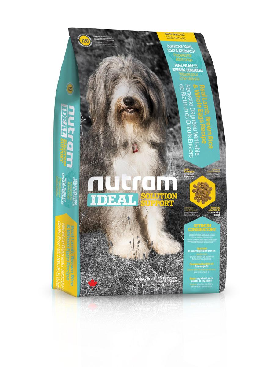 Сухой корм для собак с проблемами ЖКТ кожи и шерсти I20 Nutram Ideal Sensitive Dog - Skin, Coat & Stomach - 13.6 КГ83108Целостный (holistic), полезный, богатый питательными веществами корм, который улучшает самочувствие и здоровье питомцев по принципу «изнутри наружу». Подход Nutram к целостному питанию начинается с улучшения пищеварения. Для этого используется специальная комбинация легкоусвояемых белков, которые содержаться в мясе ягненка, и клетчатки тыквы, которая обеспечивает оптимальную среду для пищеварения. Данный рецепт сочетает в себе иммуннотонизирующие свойства лосося - источника Омега-3 кислот, которые оказывают противовоспалительное действие, и розмарина - мощного антиоксиданта. Такое Оптимальное Сочетание™ обеспечивает все необходимые питательные вещества для поддержки здоровья кожи и шерсти. • Содержит мясо ягненка, коричневый рис и цельные яйца • Мясо ягненка без костей - источник легкоусвояемых белков и привлекательного вкуса • Жир лососевых рыб и семена льна - источники Омега-3 жирных кислот • Не содержит пшеницу, кукурузу, картофель или сою в любом виде